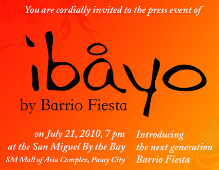 Invitation to press event of Ibayo