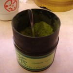 Matcha green tea at sushi restaurant
